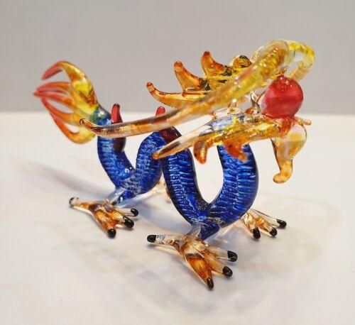Blue Dragon Figurine Art Hand Blown Fantasy Animal Glass Mini Collect Home