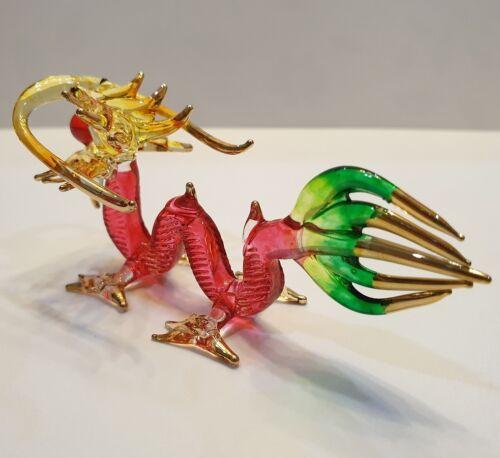 Red Dragon Figurine Art Hand Blown Fantasy Animal Glass Mini Collect Home Deco