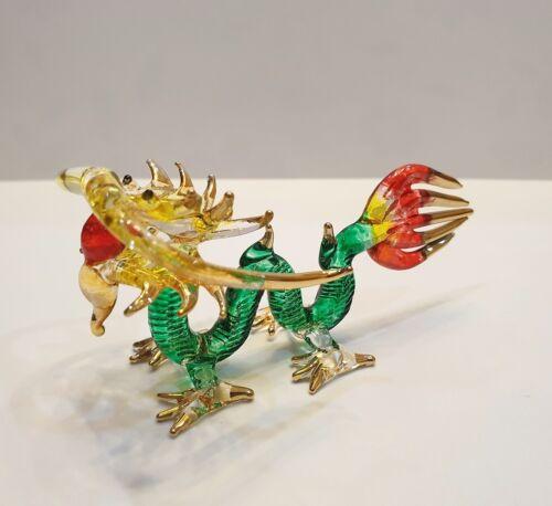 Green Dragon2 Figurine Art Hand Blown Fantasy Animal Glass Mini Collectible Deco
