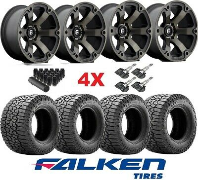 FUEL BEAST BLACK WHEELS RIMS TIRES 275 65 18 AT FALKEN WILDPEAK AT3