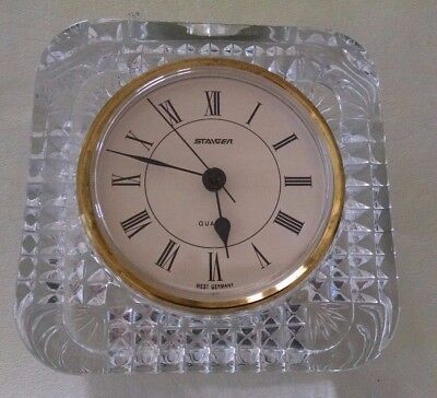 VINTAGE STAIGER West GERMANY QUARTZ  FRANCE LEAD CRYSTAL CLOCK Mantel Desk