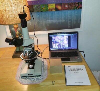 Nikon Labophot-pol Trinocular Polarizing Microscope 4p10p40p100p 5mp Camera