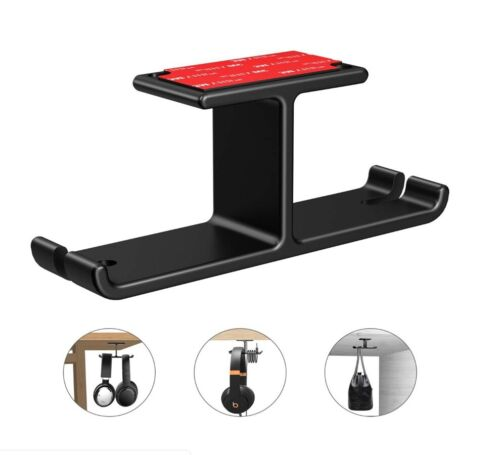 Aluminum Headphone Hanger Hook Tape Under Desk Dual Headset Mount Holder B374