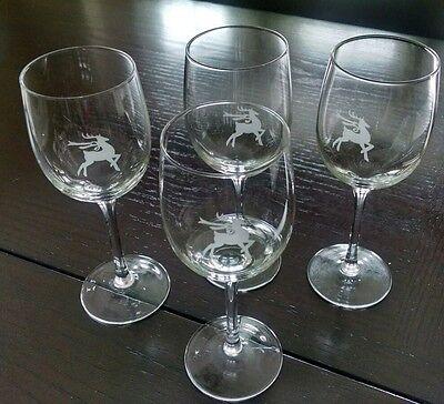 Gorham Reindeer Wine 4 Glasses Christmas Gift mother wife