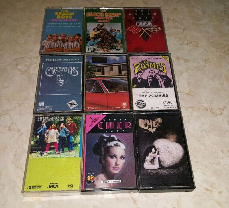 Vintage Cassette Lot 60s 70s Pop Rock The Beach Boys The Carpenters Cher Zombies