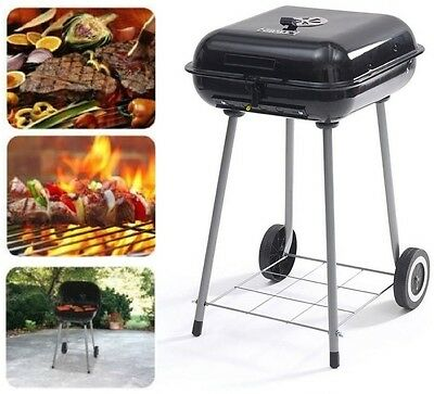 "Outdoor Grill 17.5"" Charcoal Backyard Portable BBQ with Wheels 16-burger Cooking"