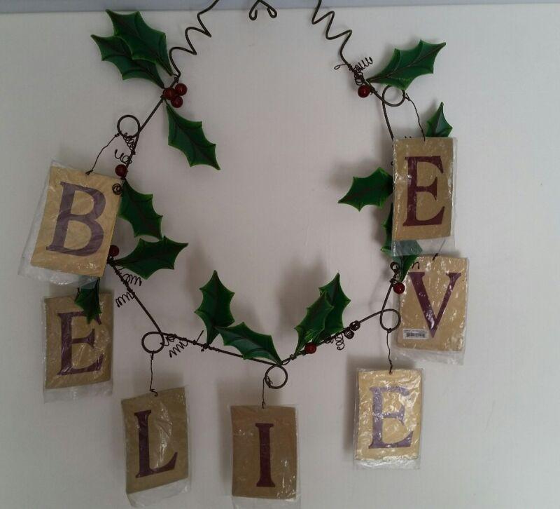Christmas Metal Wall / Door Art Wreath or Garland BELIEVE by Ganz EX12759