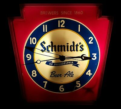 Schmidts of Philadelphia Beer Ale Brewers Since 1860 PA Keystone Light Up Clock