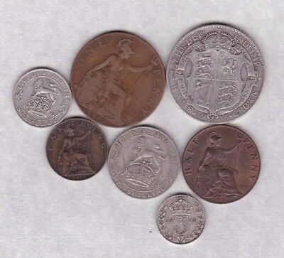 1913 GEORGE V PART SET OF 7 COINS IN FINE OR BETTER CONDITION