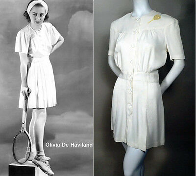 30s/40s Vintage PIN-UP! Starlet PLAYSUIT_Celluloid Tennis Racket_Rayon_B-38 W-28