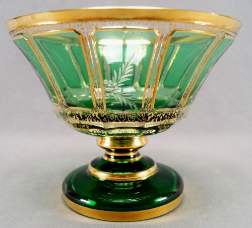 Moser Emerald Green Cut Clear Crystal & Gold Intaglio Engraved Floral Compote
