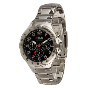 Fila FA0795-31 Men's Stainless Steel Chronograph Watch with Black Dial