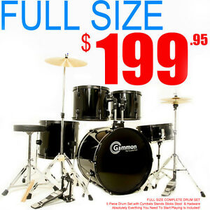NEW 5 PIECE BLACK DRUM SET with CYMBALS FULL SIZE ADULT