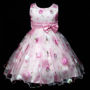GBP3211-Pink-Christmas-Wedding-Party-Flower-Girls-Dress-Sz-3-4-5-6-7-8Y