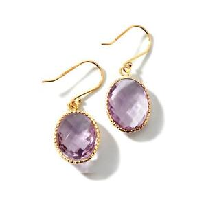 Technibond 16ct Gemstone Faceted Dangle Earrings 14K Yellow Gold Clad 925 Silver