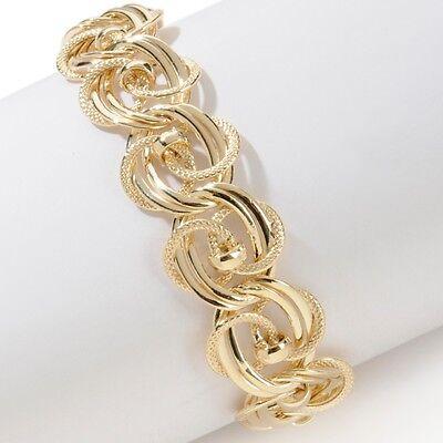 Technibond Double Rosette Link Bracelet 14k Yellow Gold Clad Sterling Silver 925