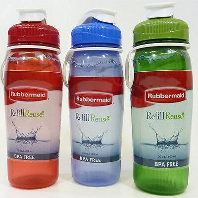 3 Rubbermaid 7M43  Refill & Reuse 20 oz.  Chug  Water Bottles BPA FREE