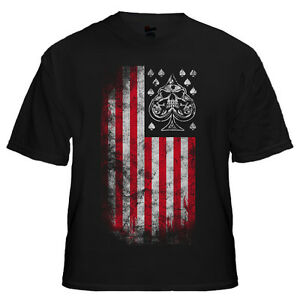 AMERICAN-FLAG-Black-T-Shirt-with-SKULL-Logo-2-Sided-Military-Army-Marines-Medium