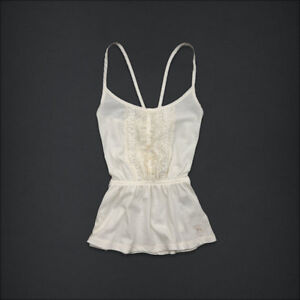 NEW NWT GIRLS SIZE MEDIUM 10 12 ABERCROMBIE KIDS IVORY CREAM LACE TANK TOP SHIRT