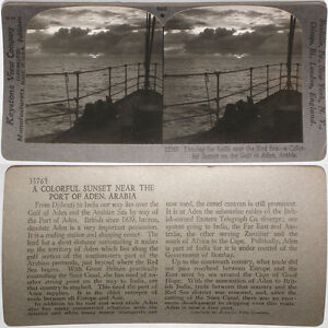 Keystone-Stereoview-Sunset-Gulf-of-Adan-Red-Sea-ARABIA-From-RARE-1200-Card-Set