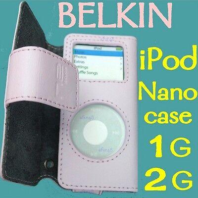 $25 BELKIN Grain Leather Folio Case~ APPLE iPod Nano 1st& 2nd Gen ~ Petal PINK
