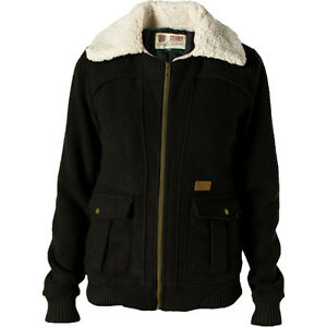 Volcom-Stealth-Bomber-Jacket-Womens-XS-Black-Casual-Coat-Sherpa-Collar