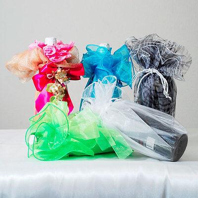 27 Circle Organza Wine Bottle Vase Wrap Gift Box Favor Bag Tie Tassel 12 Pc