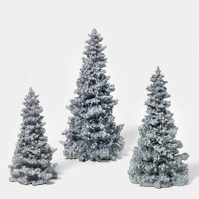 Dept 56 Silver Glitter Pine Trees Set of 3 49005 D56 NEW Christmas Village
