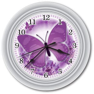 New Purple Butterfly Wall Clock Office Kitchen Bathroom