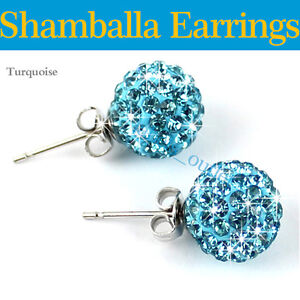 Earring Premium Shamballa Czech Crystal Disco Clay Ball Stud Earrings  8mm Sale