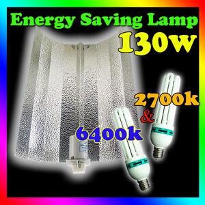 Hydroponics Grow Light CFL 130W 2700K & 6400k Bulbs Lamps Aluminum Reflector Kit