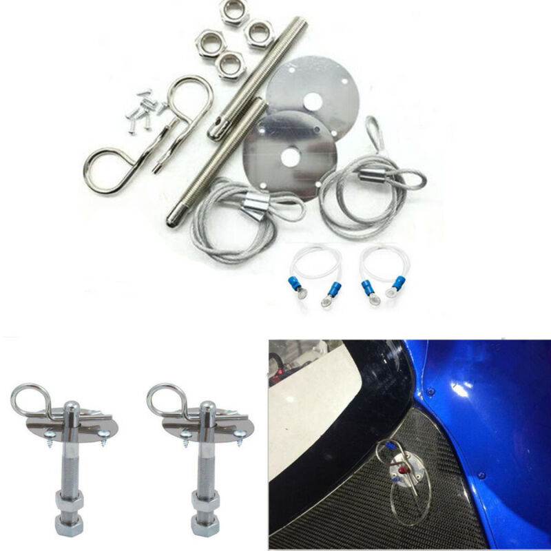 Universal Muscle Autos Silver Flip-Over Style Hood Latch Pin Set Studs Aluminum