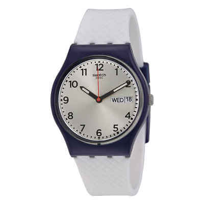 Swatch White Delight Silver Dial White Silicone Strap Men's Watch GN720