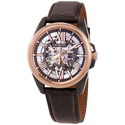 Bulova® Men's Rose Goldtone & Brown Leather Automatic Wa