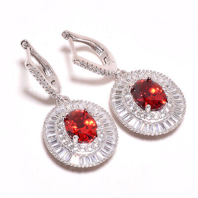 Mozambique Garnet, White Topaz 925 Sterling Silver Earring Jewelry 1.44 E8-14-5 - $4.00