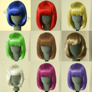 Womens-Girls-Sexy-Short-BOB-Hair-Wig-with-Straight-Bangs-Cosplay-Party-NEW-HDF