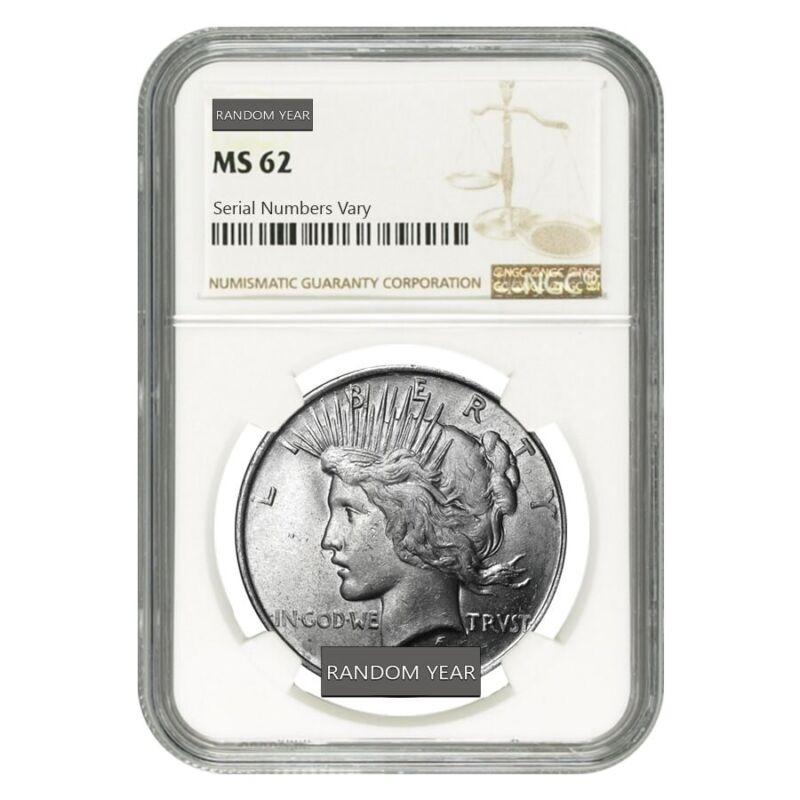 Peace Silver Dollar $1 NGC MS 62 (Random Year, 1922-1935)