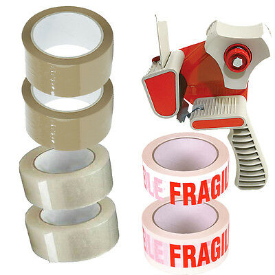6X ROLLS OF PACKING TAPE 2X FRAGILE 2X CLEAR 2X BROWN + 1X TAPE DISPENSER GUN