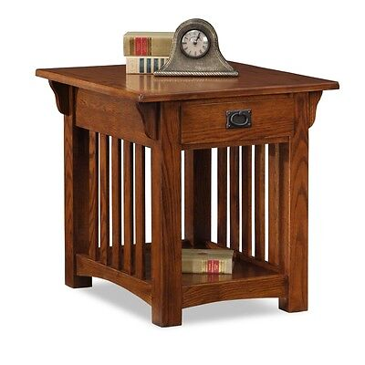 Leick Furniture Mission End Table With Drawer In Medium Oak Finish  8207 New