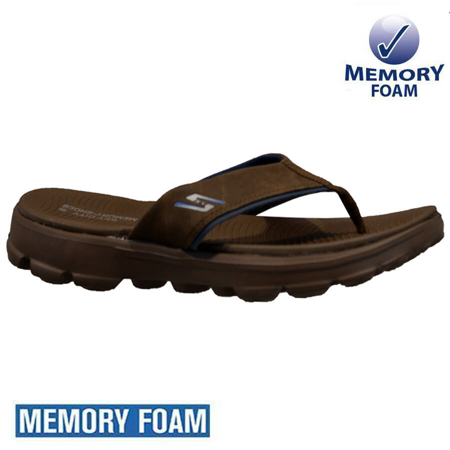 72877d24ad35 MENS SKECHERS MEMORY FOAM SPORTS BEACH HOLIDAY SHOWER FLIP FLOPS MULES  SANDALS