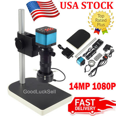14mp 1080p Hdmi Usb Digital Industry Video Microscope Camera C-mount Lens Dvr Us