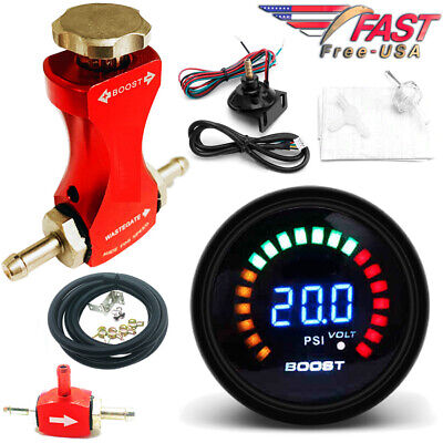 0-30 PSI Manual Boost Controller Kit RED w/ 52mm Digital Electronic BOOST GAUGE