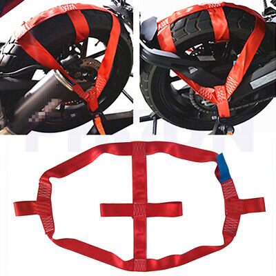 Red Motorcycle Transport Strap Rear Wheel Tie Down Belt Tire Holder Rope Robust