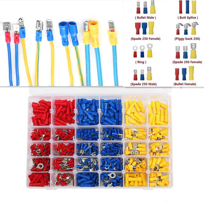 Assorted Insulated Fork U-type Terminals Connectors Electrical Crimp Spade Ring