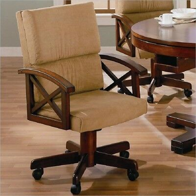 Coaster Home Funiture 100172 Tan Upholstered Fabric Arm Game Office Chair 4p Set