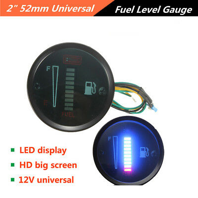 2inch 52mm Automobile 10LED Fuel Level Meter Digital Gauge Car Styling Universal
