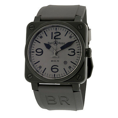 Bell and Ross Commando Automatic Grey Dial Matte Black PVD Mens Watch