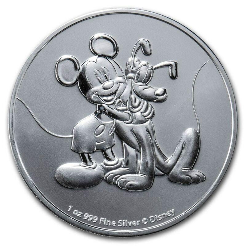 2020 Silver 1 oz. $2 Disney Mickey Mouse and Pluto BU