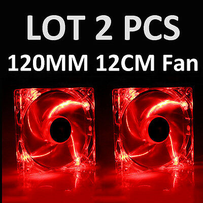 Red Led Fan (2 PCS 120mm 4 LED Red CPU Cooling Fan Computer PC Clear Case Quad Heatsink)