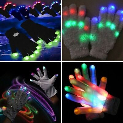 LED Flashing Gloves Glow 7 Mode Light Up Finger Tip Lighting Pair Rave Party NEW